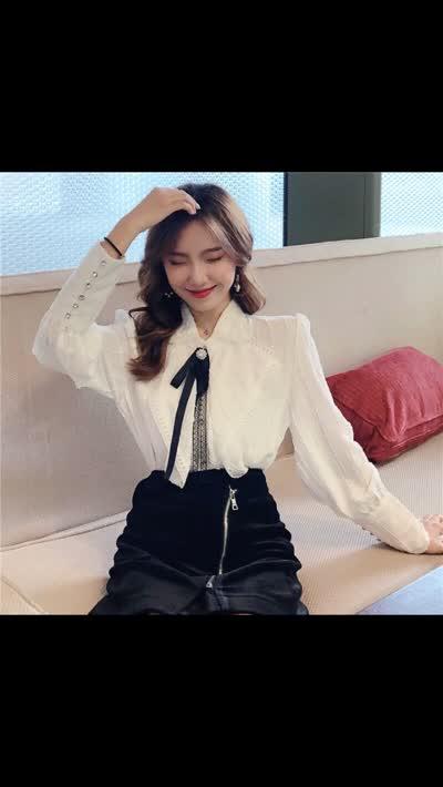 2020春新款长袖网红衬衫设计感仙气宫廷风雪纺上衣女