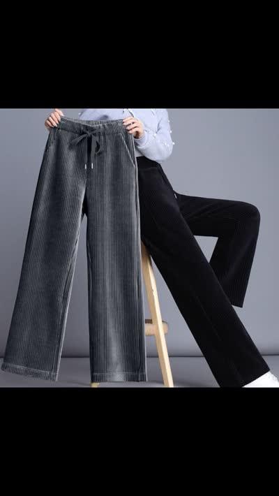 灯芯绒阔腿裤女高腰垂感加绒条绒女裤2019新款大码直筒裤秋冬裤子