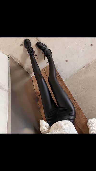 實拍實價!皮褲女秋冬加絨加厚緊身彈力打底褲高腰pu皮長褲,顏色:黑色,