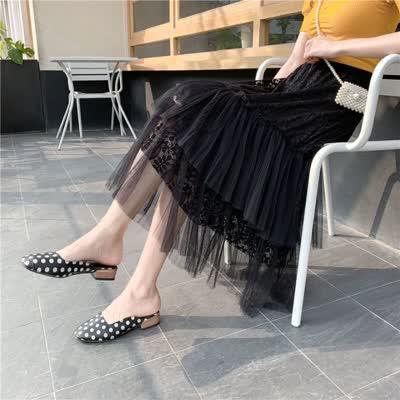实拍 春季新款大码半身裙女胖mm显瘦200斤洋气法式蕾丝纱裙蛋糕裙