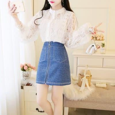 独家定制 春装新款立领蕾丝衫+半身裙牛仔裙套装
