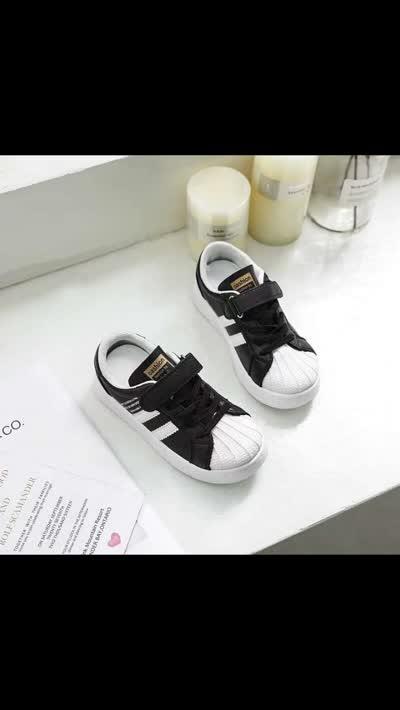 贝壳头童鞋女童小白鞋宝宝板鞋男童鞋子儿童休闲鞋真皮运动鞋