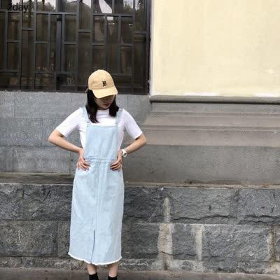 2day2020年春装韩版小众修身显瘦直筒减龄背带裤