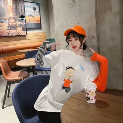 假两件T恤女长袖学生2020春装新款休闲百搭宽松拼