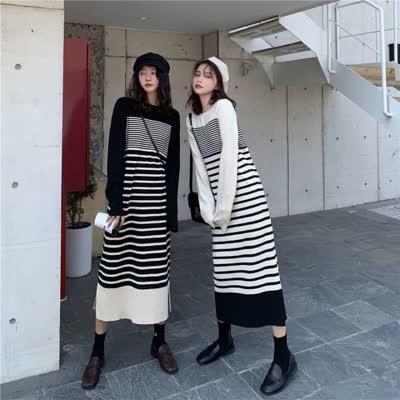 实拍 韩版条纹针织长袖连衣裙女气质显瘦中长款打底裙