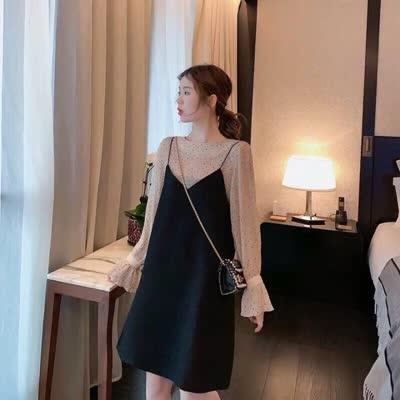 名媛小香风两件套女秋冬泫雅风吊带裙子套装洋气韩版