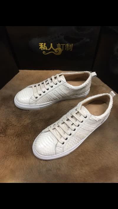 拼色蛇皮鞋子男士真皮秋冬季新款休闲鞋板鞋材质:真蛇皮、颜色:拼色、内里:牛皮、