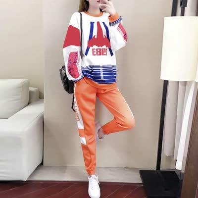 卫衣套装女春秋2020新款宽松韩版长袖嘻哈休闲运动帅气时尚两件套