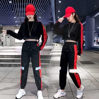 嘻哈港风运动套装女新款宽松曳步舞演出网红潮牌爵士舞成人表演服