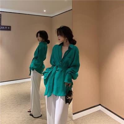 宽松小众设计显瘦斜扣系带气质中长款心机女衬衫