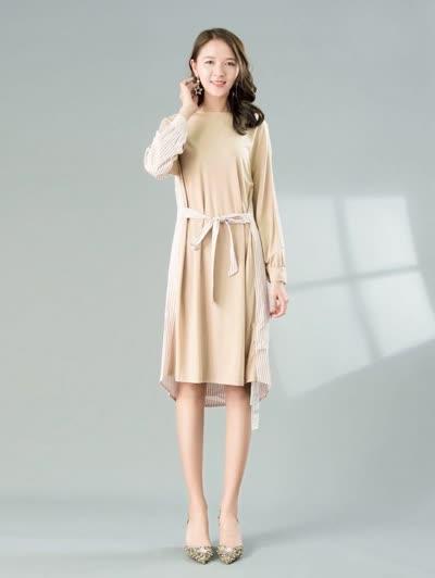 2020春装新款女装【朝花夕拾】淑女气质圆领条纹拼接纯棉不规则绑带显瘦连衣裙