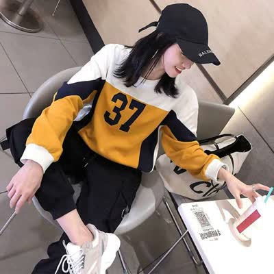 运动套装女2020秋冬新款韩版宽松休闲加绒卫衣工装裤运动服两件套