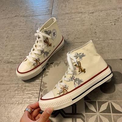 帆布鞋女2020春季新款韩版时尚百搭学生板鞋平底系带运动休闲鞋潮