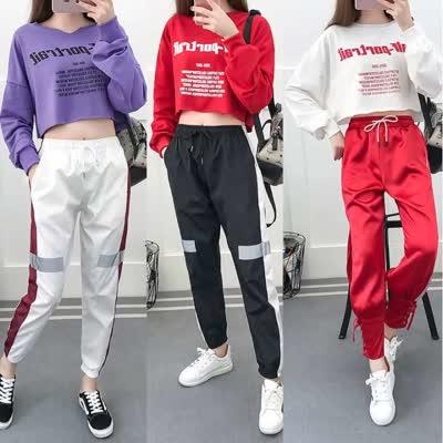 爵士舞服装女韩版宽松嘻哈学生套装性感露脐街舞现代舞服表演套装