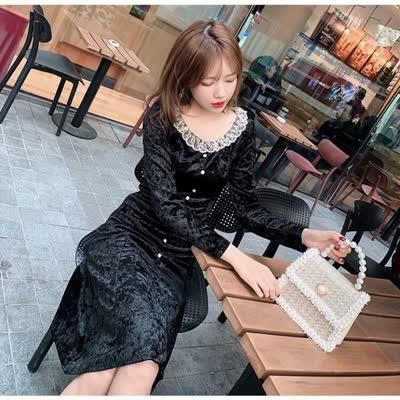 独家定制 春装新款丝绒裙连衣裙