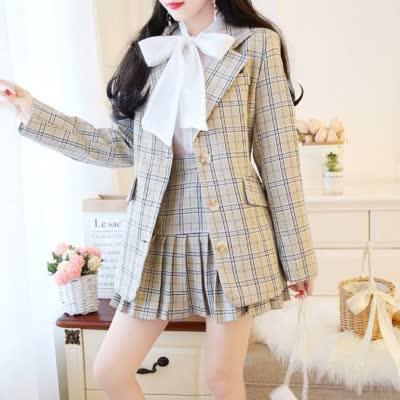 独家定制 春装新款衬衫衬衣+短裙百褶裙半身裙+西装外套 三件套套装