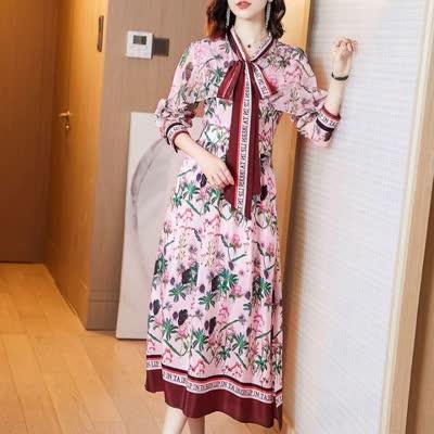 9005 春装时尚日系温柔风印花穿搭皮草时尚连衣裙