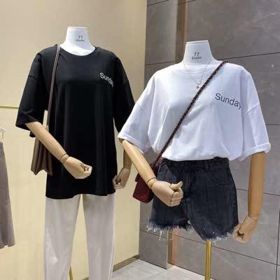 货号:40008现货实拍#韩国2020早春新款宽松字母前后印花简约磨毛棉短袖T恤女