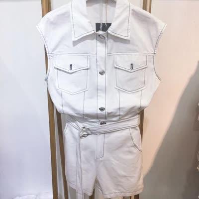 2020新款夏季无袖马甲牛仔布翻领系带明线休闲白色工装短裤套装实拍