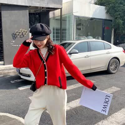 【kk?studios】 2020新款 外套 不连帽春季夏季单排扣V领常规款毛类混纺纯色长袖纽扣装饰常