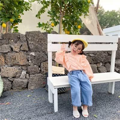 童装2020春季韩版女童小飞袖格子衬衫中小童宝宝洋气衣娃娃衫上衣