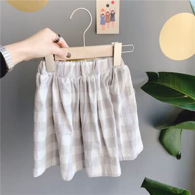 80-130 韩版格子裙中长裙半身裙灰色格
