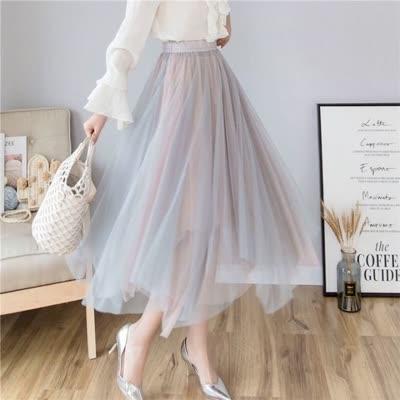 货号69507#,2020春夏季新款超仙的撞色网纱裙中长款A字蓬蓬半