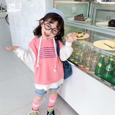韩版春款儿童字母假两件帽衫T恤儿童上衣休闲卫衣拼接款